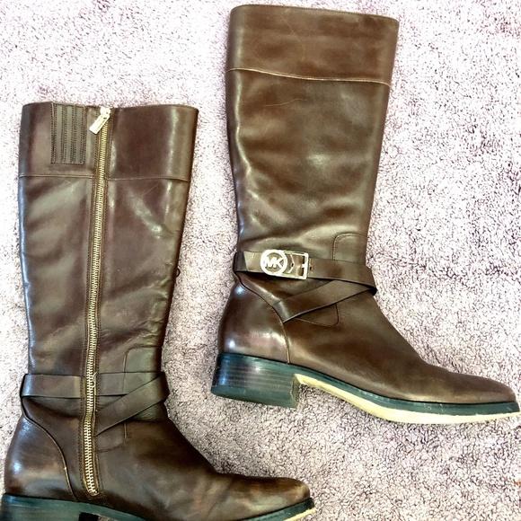 Michael Kors Shoes - Michael Kors Brown Leather Boots Size 10